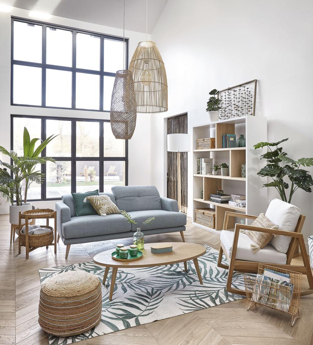bout de canap en bambou tress et sapin mekong maisons. Black Bedroom Furniture Sets. Home Design Ideas
