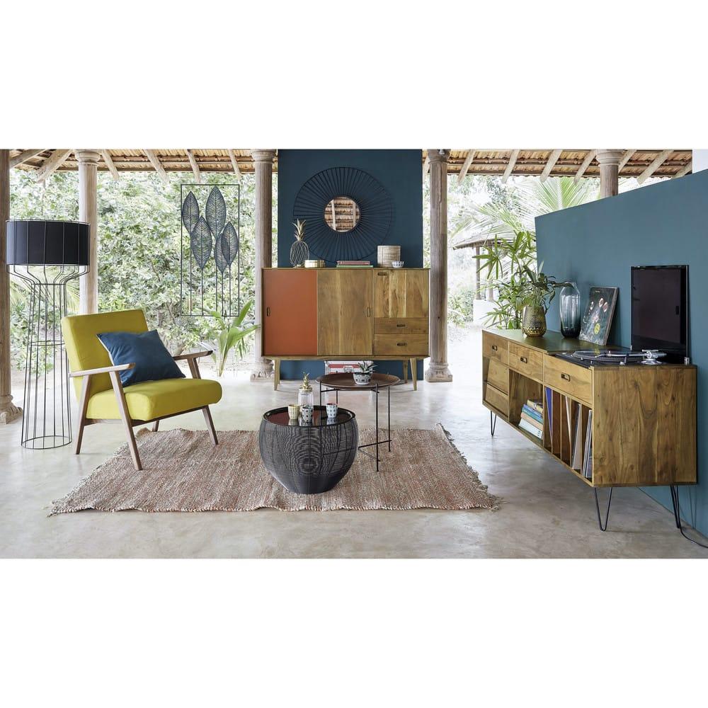 bout de canap en fr ne et m tal noir armand maisons du. Black Bedroom Furniture Sets. Home Design Ideas