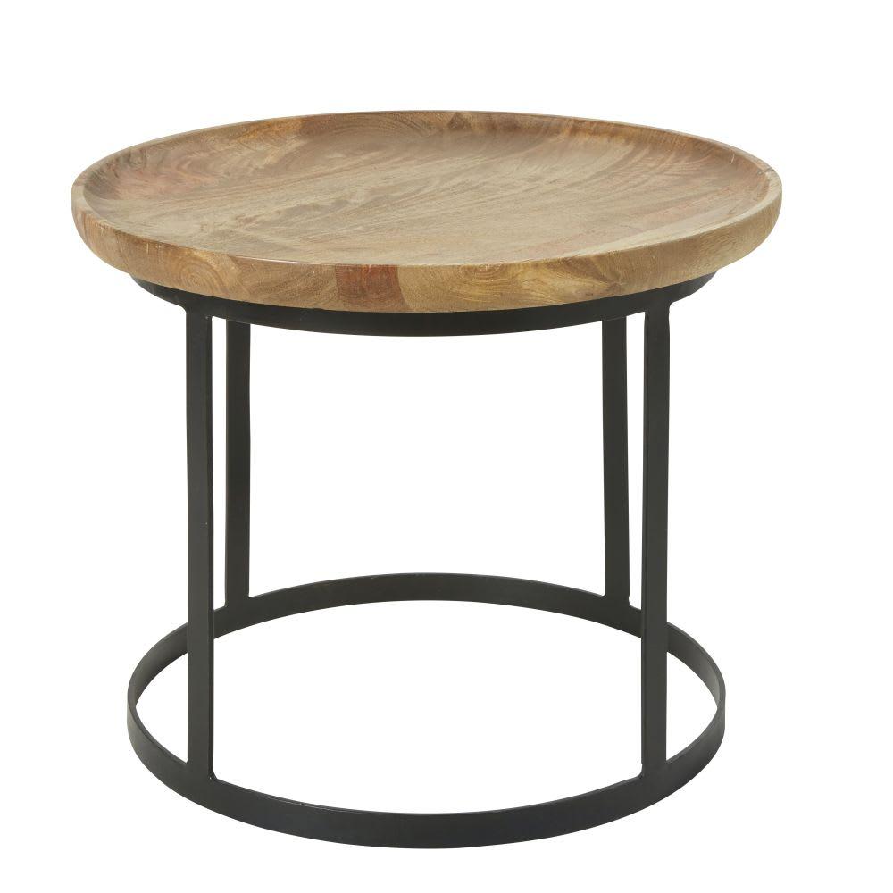 bout de canap en manguier et m tal noir tawa maisons du. Black Bedroom Furniture Sets. Home Design Ideas
