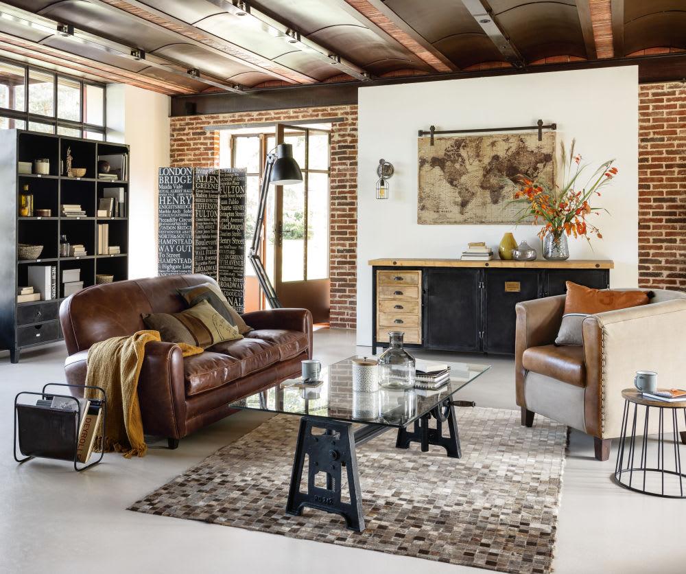 bout de canap en manguier et m tal noir h40 patchai. Black Bedroom Furniture Sets. Home Design Ideas
