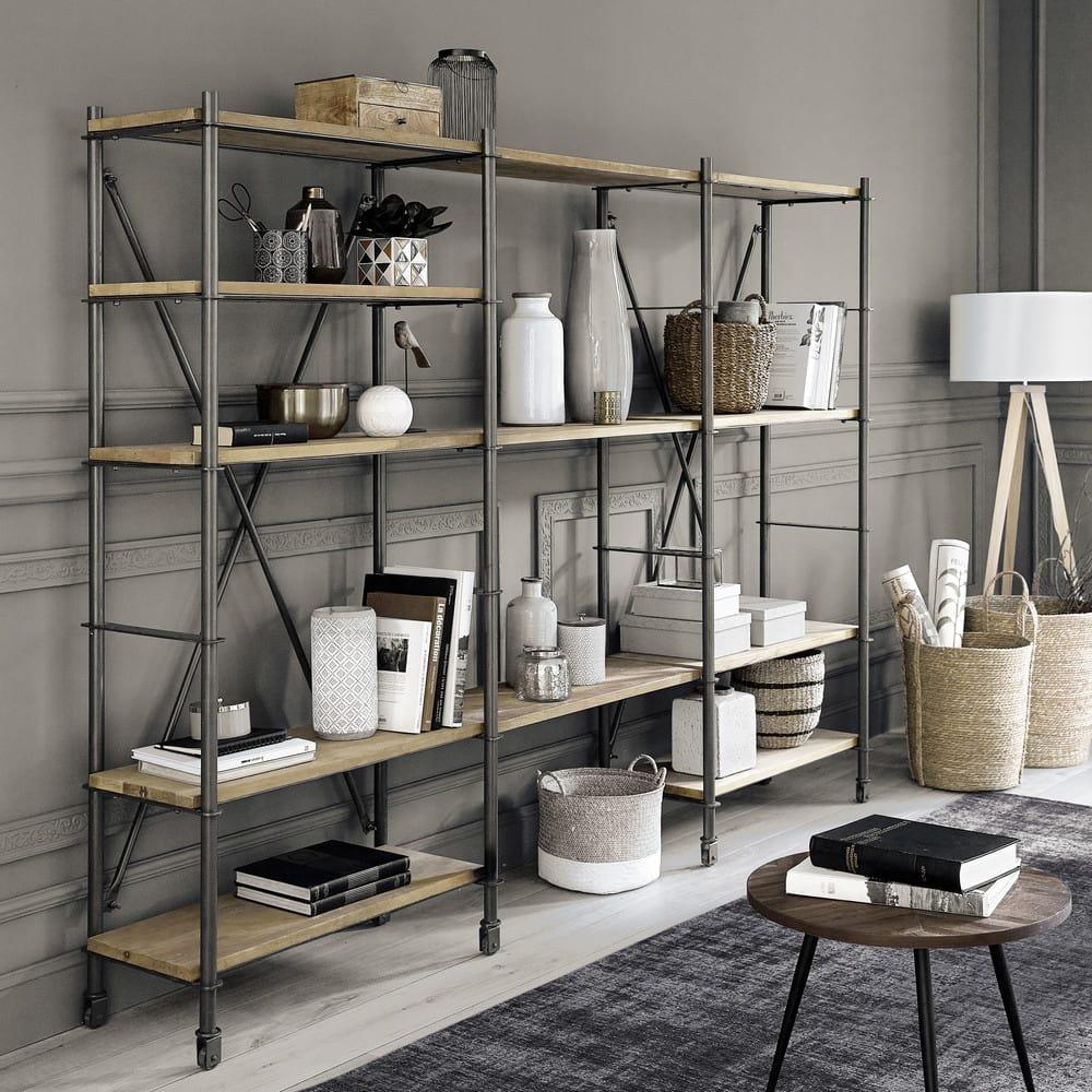 bout de canap en manguier et m tal noir melchior. Black Bedroom Furniture Sets. Home Design Ideas
