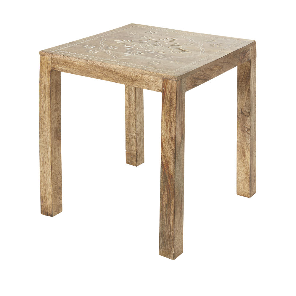 bout de canap en manguier sculpt blanchi h41 kalia. Black Bedroom Furniture Sets. Home Design Ideas