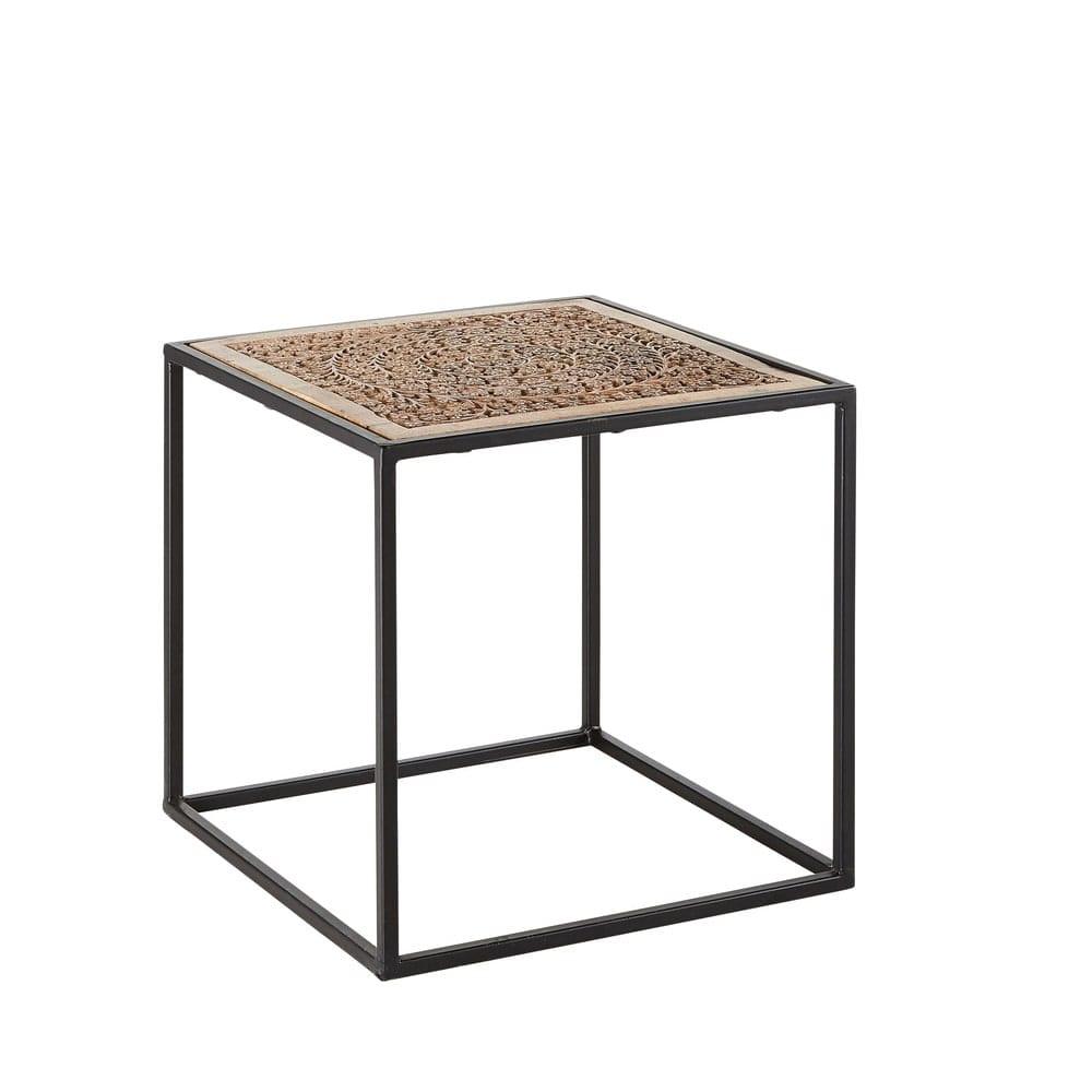 bout de canap en manguier sculpt et m tal noir amala. Black Bedroom Furniture Sets. Home Design Ideas