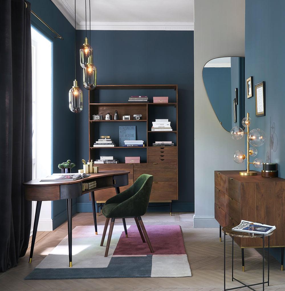 bout de canap en marbre marron et m tal noir carrare. Black Bedroom Furniture Sets. Home Design Ideas