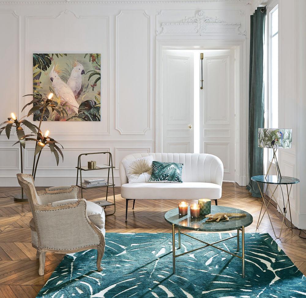bout de canap en marbre vert et m tal dor odysee. Black Bedroom Furniture Sets. Home Design Ideas