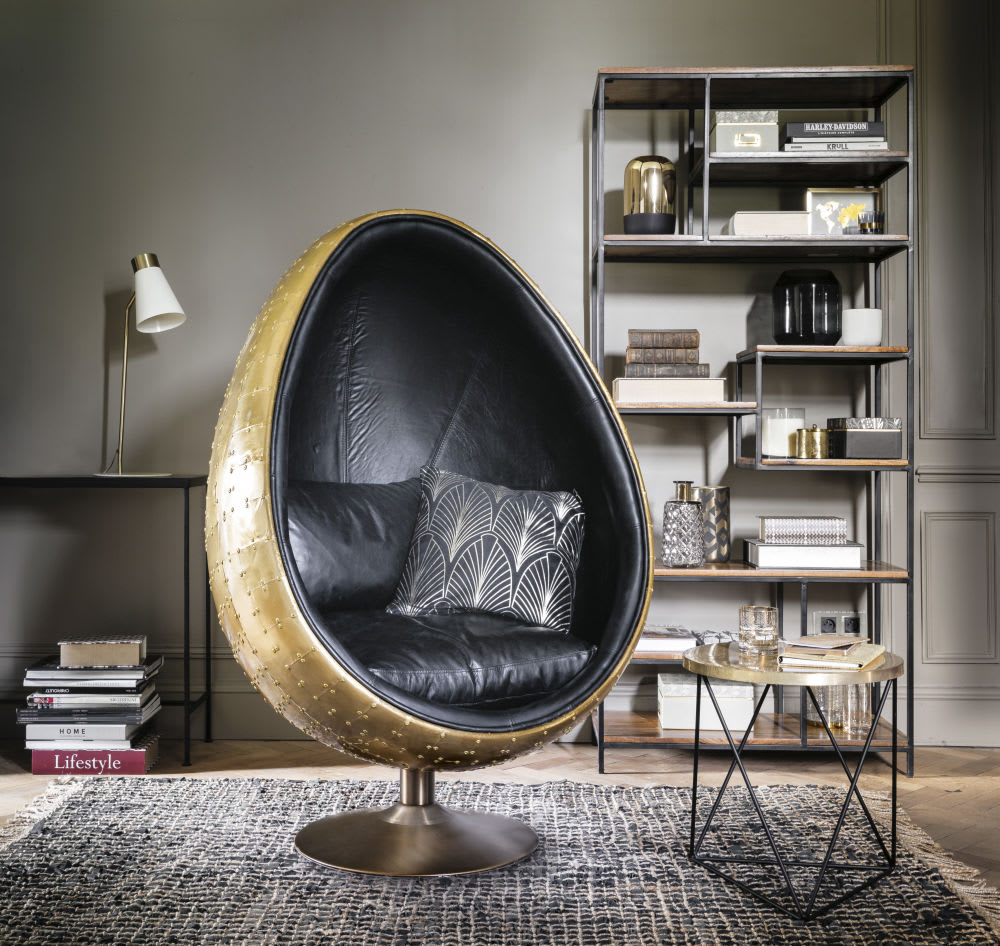 bout de canap en m tal dor et noir amy maisons du monde. Black Bedroom Furniture Sets. Home Design Ideas