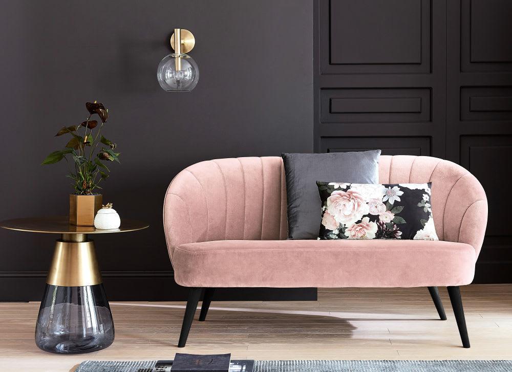 bout de canap en m tal dor et verre fum loxton. Black Bedroom Furniture Sets. Home Design Ideas