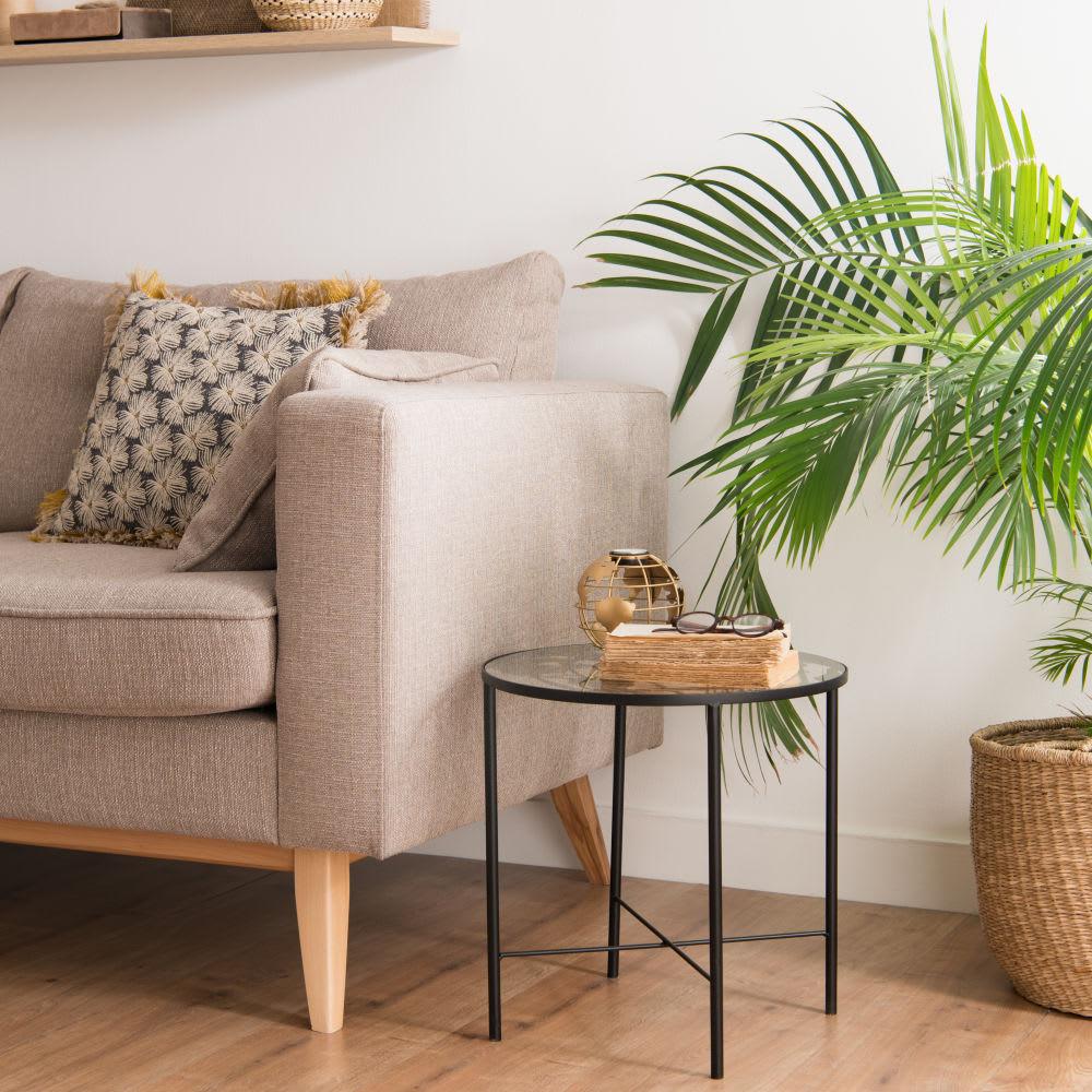 bout de canap en m tal et verre imprim carte du monde. Black Bedroom Furniture Sets. Home Design Ideas