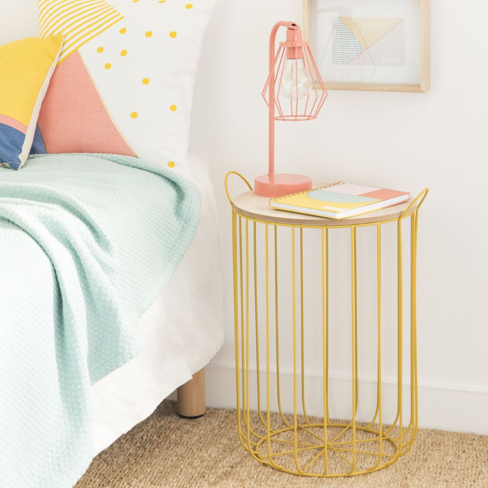 bout de canap en m tal filaire jaune judy maisons du monde. Black Bedroom Furniture Sets. Home Design Ideas