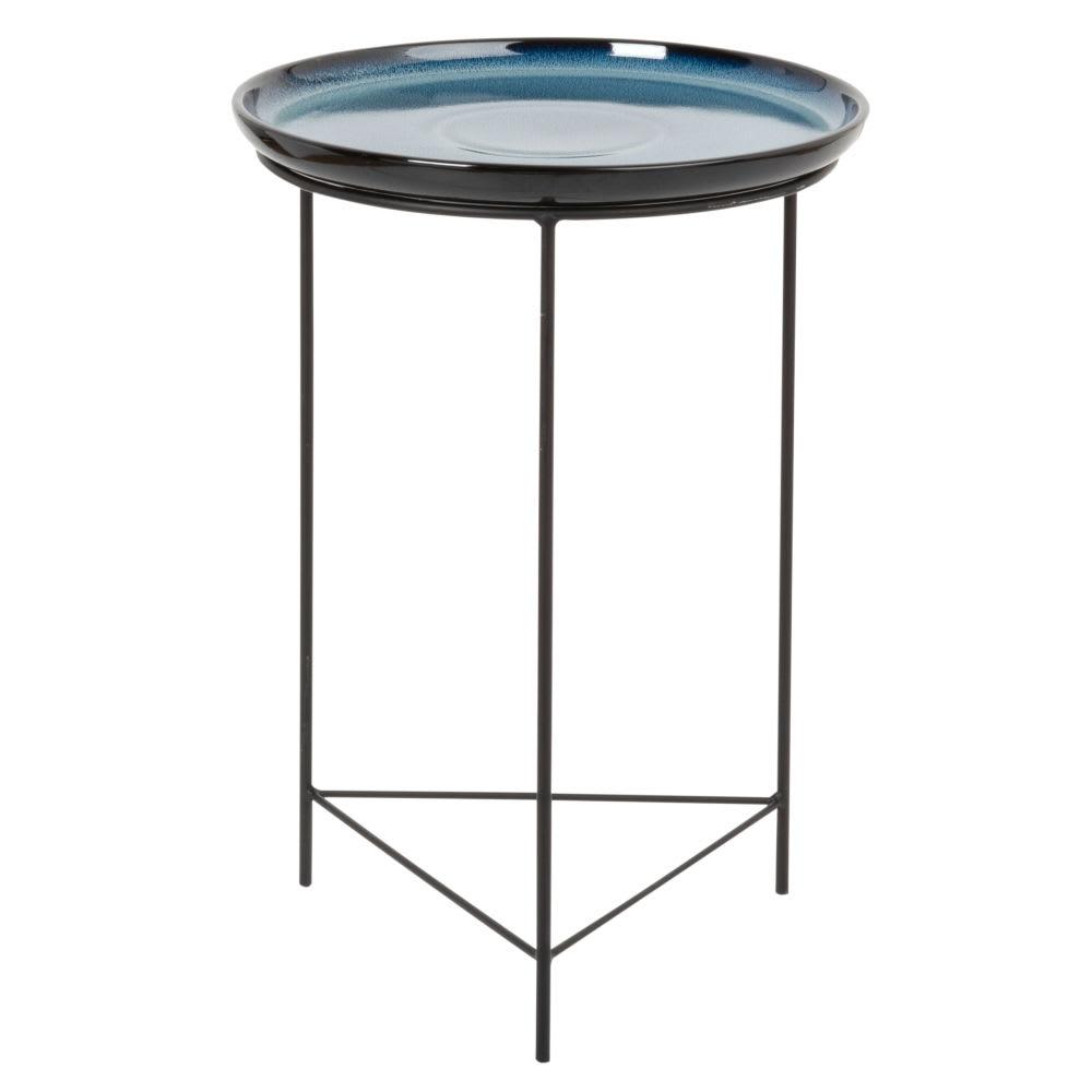 bout de canap en m tal noir et c ramique bleu nuit. Black Bedroom Furniture Sets. Home Design Ideas