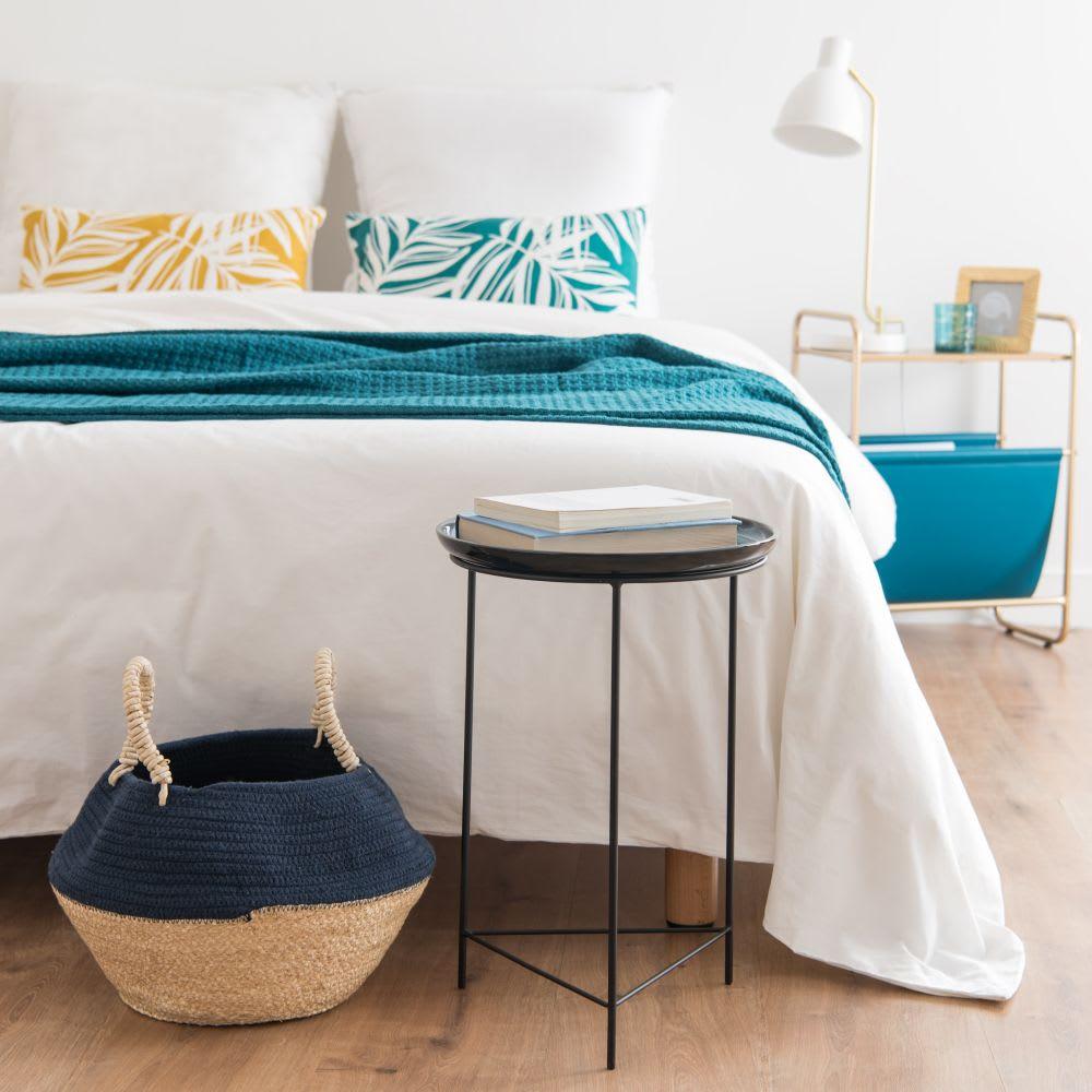 bout de canap en m tal noir et c ramique bleu nuit maisons du monde. Black Bedroom Furniture Sets. Home Design Ideas