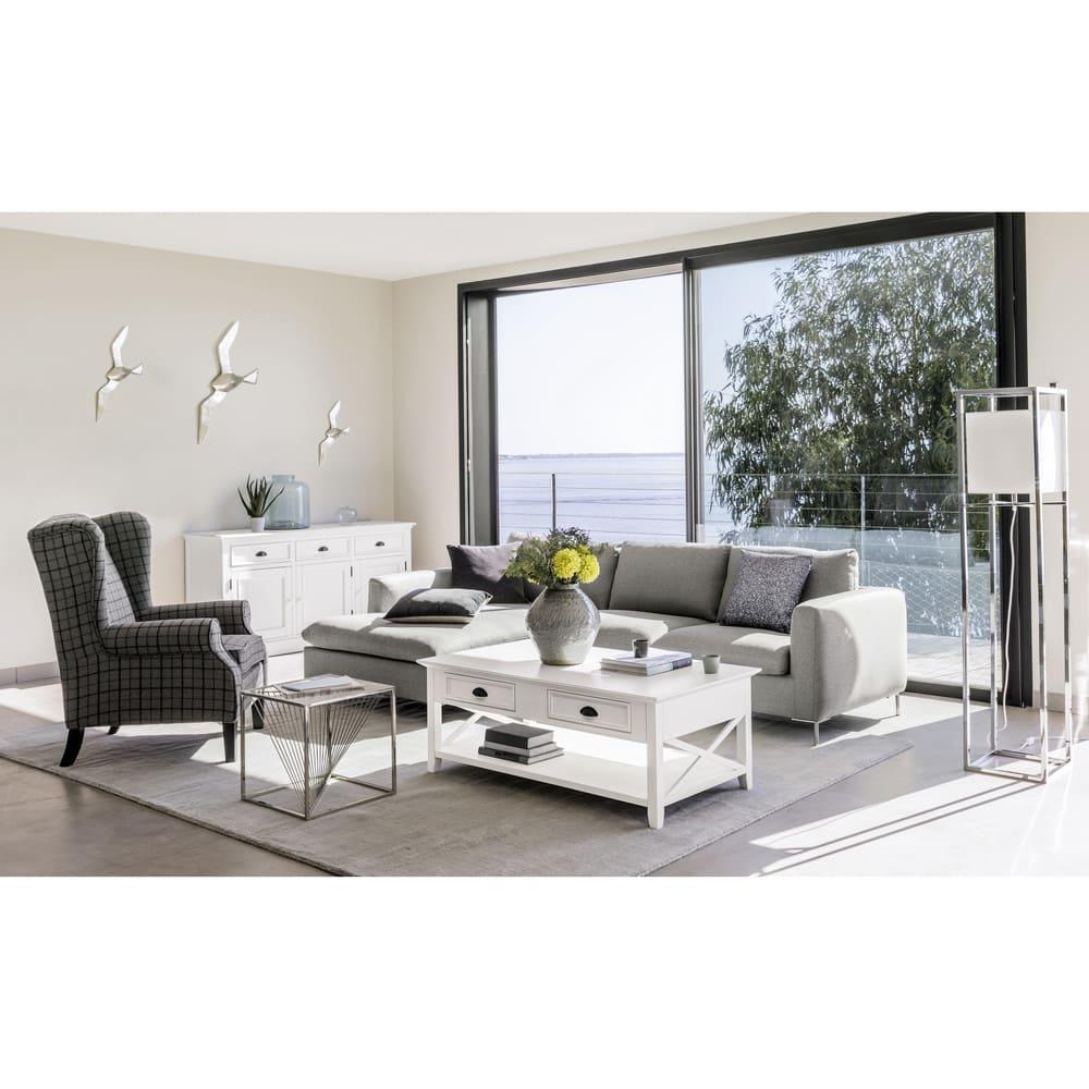 bout de canap en verre et m tal chrom harrison maisons. Black Bedroom Furniture Sets. Home Design Ideas