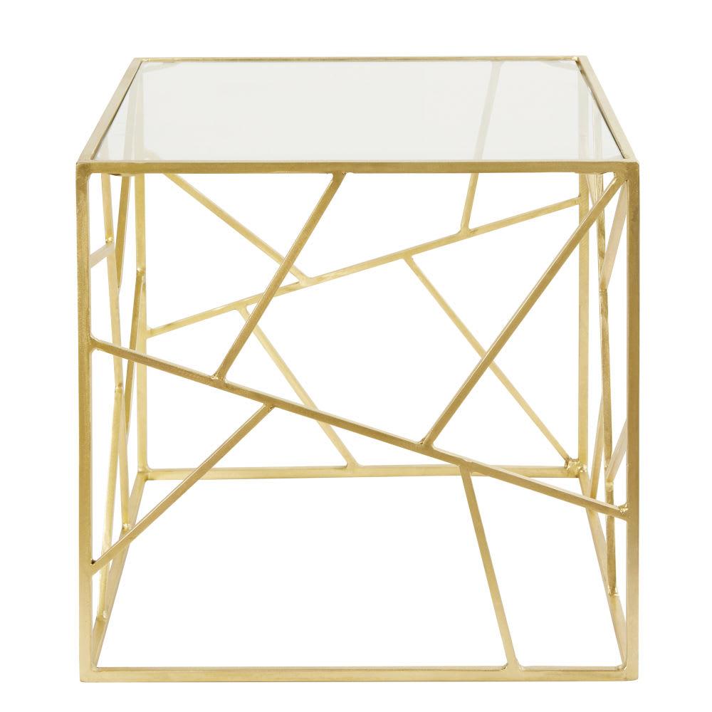 bout de canap en verre et m tal dor monterey maisons. Black Bedroom Furniture Sets. Home Design Ideas