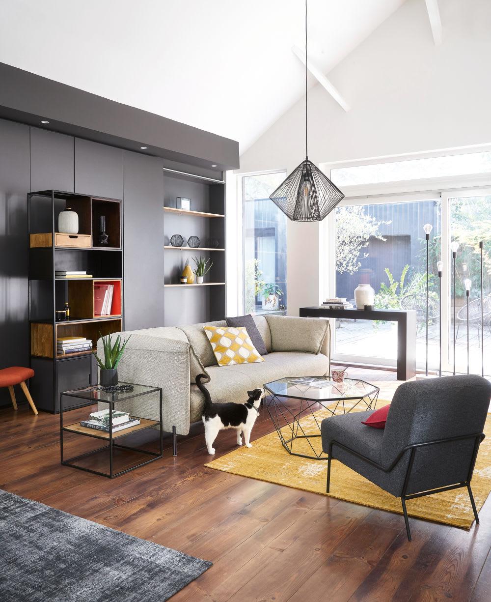 bout de canap en verre et m tal noir chester maisons du. Black Bedroom Furniture Sets. Home Design Ideas