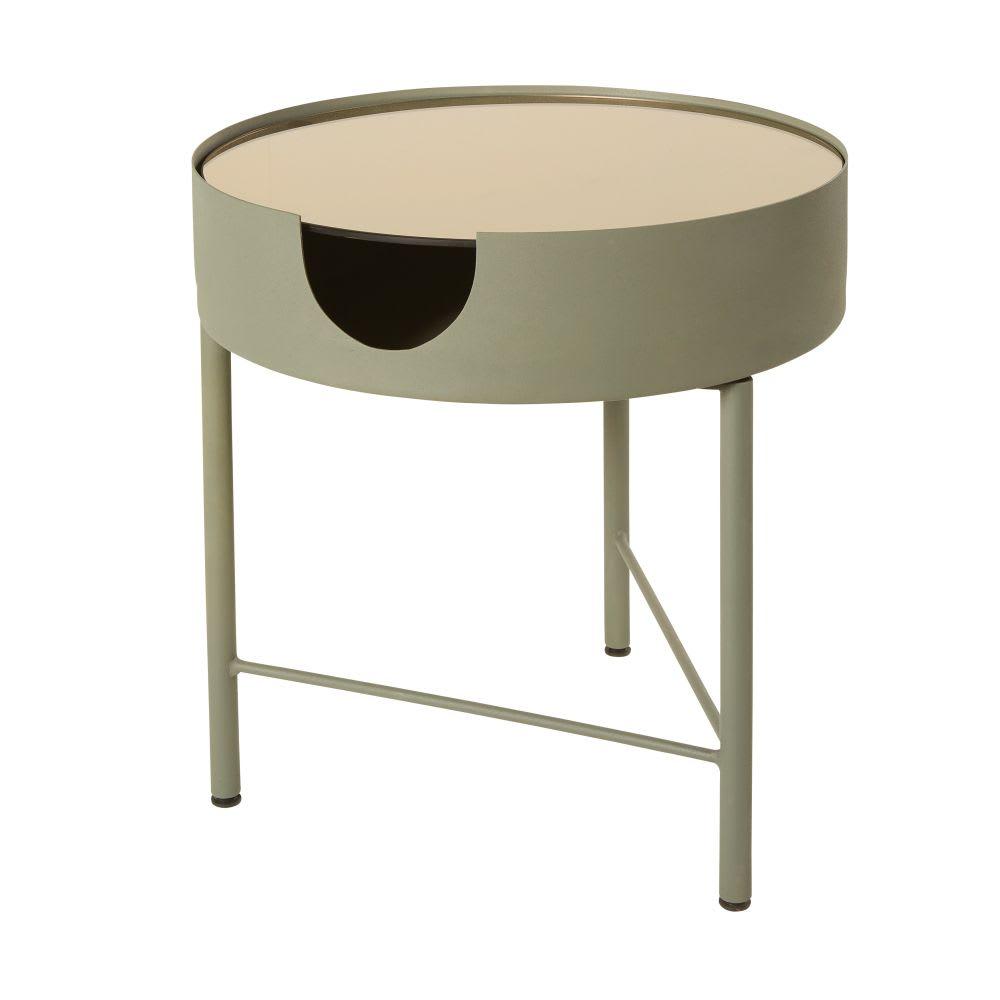 bout de canap en verre fum et m tal gris anthracite theos maisons du monde. Black Bedroom Furniture Sets. Home Design Ideas