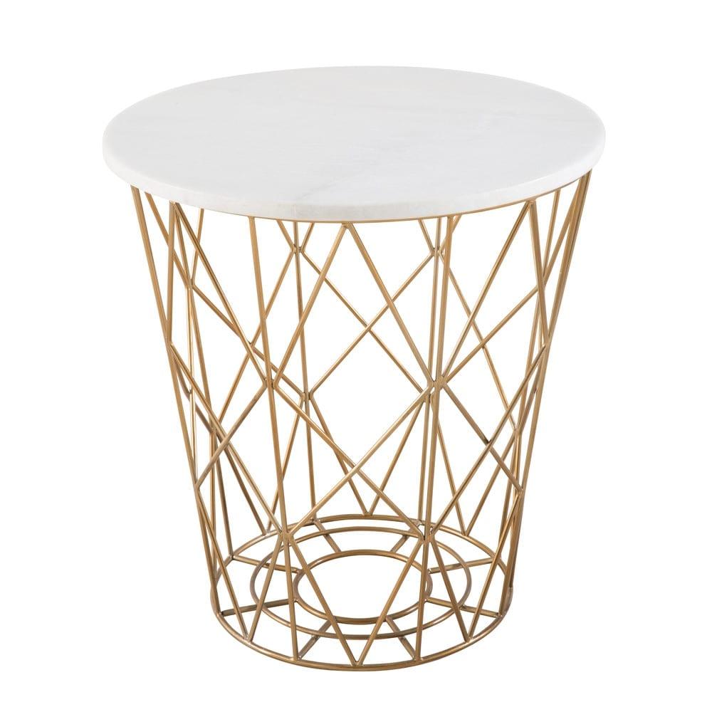 bout de canap filaire en marbre blanc elisabeth maisons. Black Bedroom Furniture Sets. Home Design Ideas