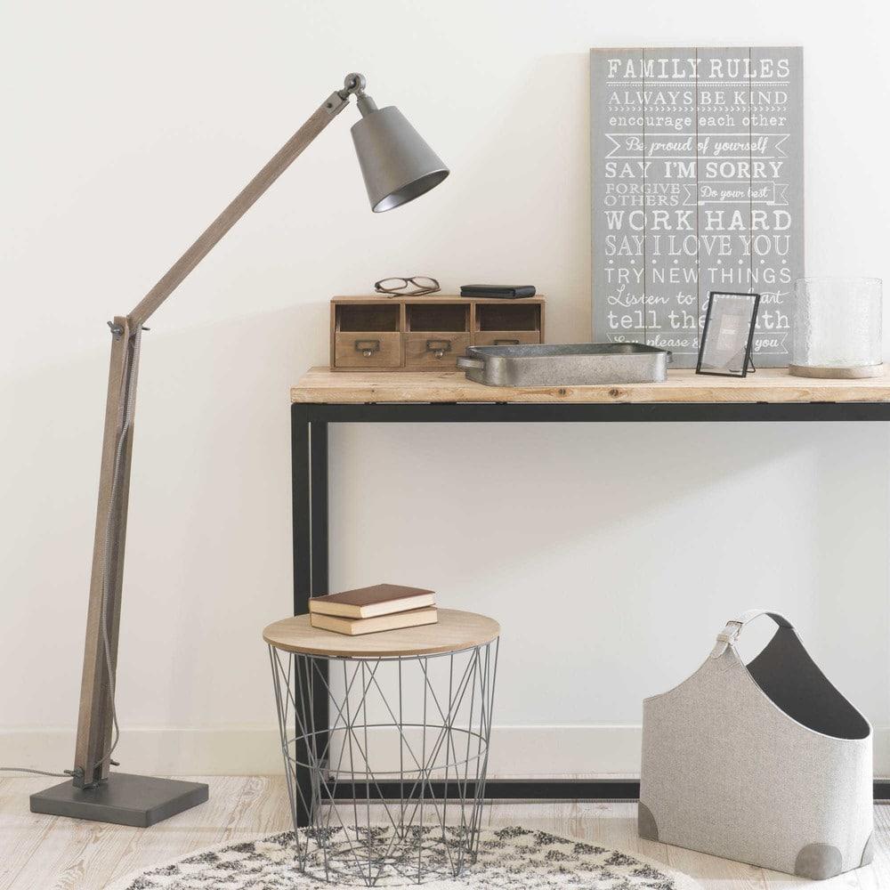 bout de canap filaire en m tal gris zigzag maisons du monde. Black Bedroom Furniture Sets. Home Design Ideas