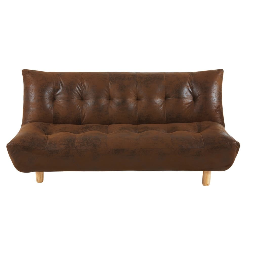 Brown 3 Seater Microsuede Sofa Bed Cloud