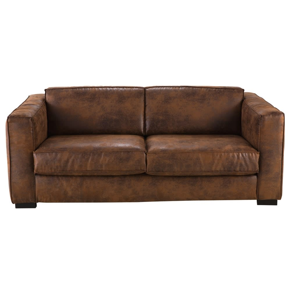 Brown 3 Seater Microsuede Sofa Bed Berlin
