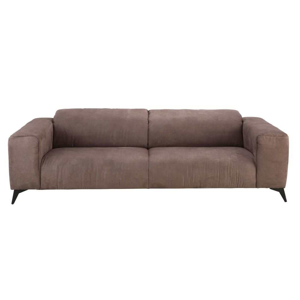 Brown 3 Seater Microsuede Sofa With Headrests Haubert