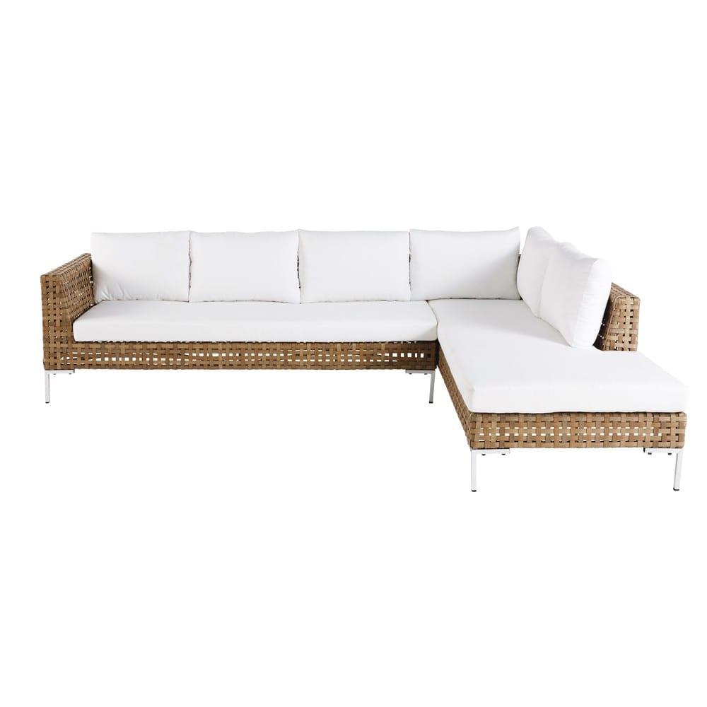 Brown 6 Seater Resin Wicker Garden Corner Sofa
