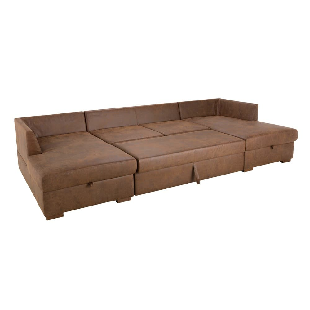 Brown 7-Seater Microsuede U-Shaped Sofa Bed | Maisons du Monde