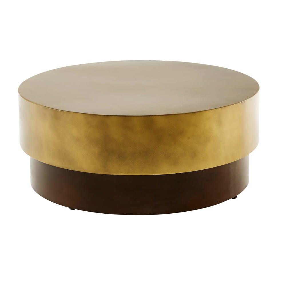 Brown And Gold Metal Round Coffee Table Moka