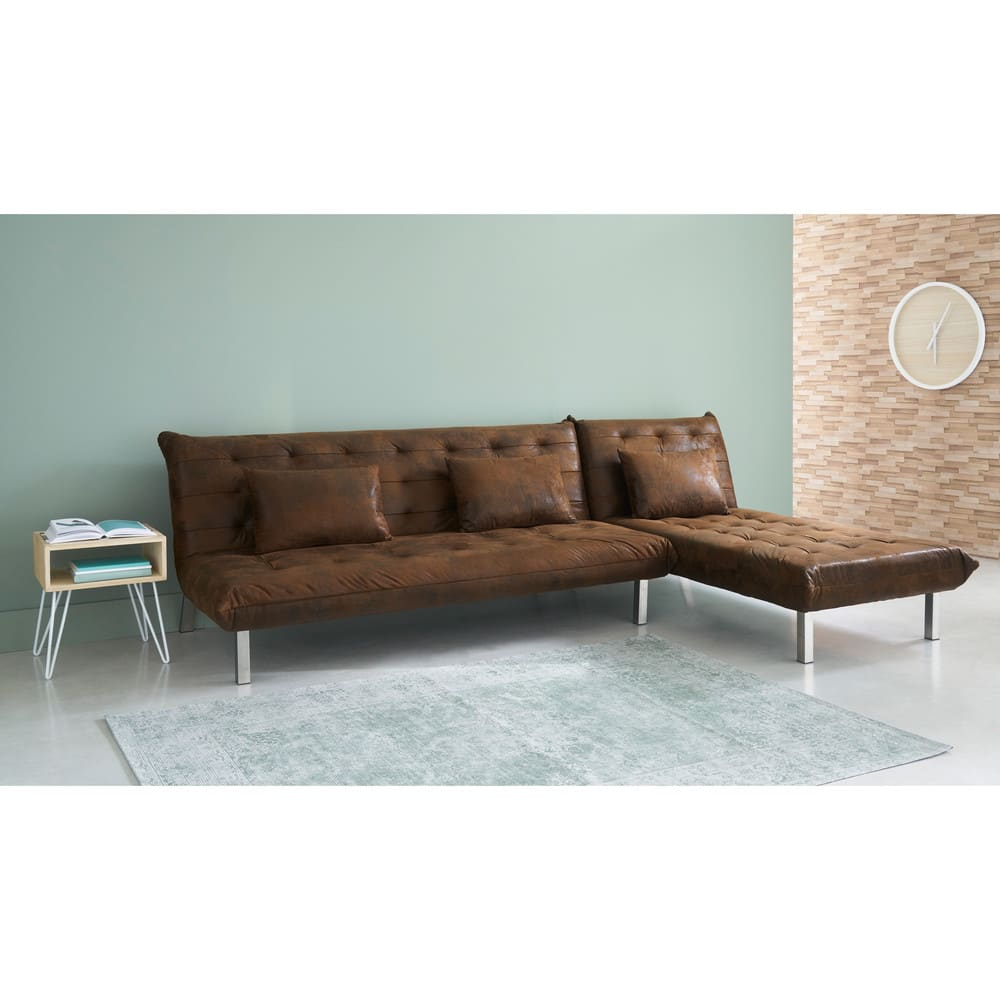 Brown Microsuede 2 Seater Sleeper Sofa