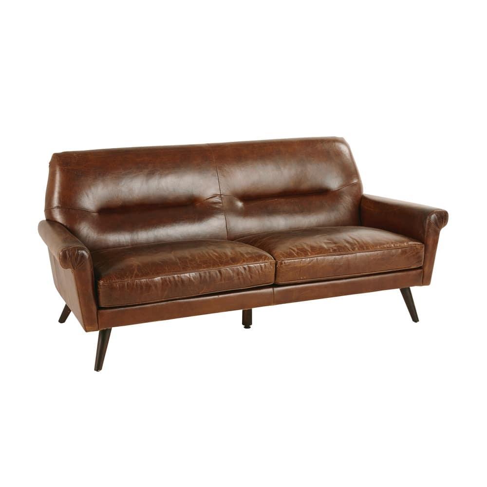 Brown Vintage 3-Seater Leather Sofa Paolo   Maisons du Monde