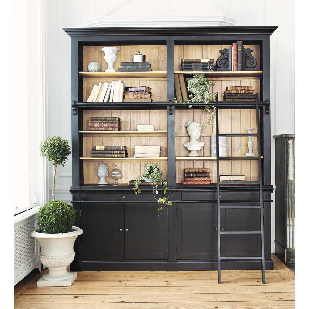 b cherregal aus kieferholz mit leiter schwarz versailles maisons du monde. Black Bedroom Furniture Sets. Home Design Ideas