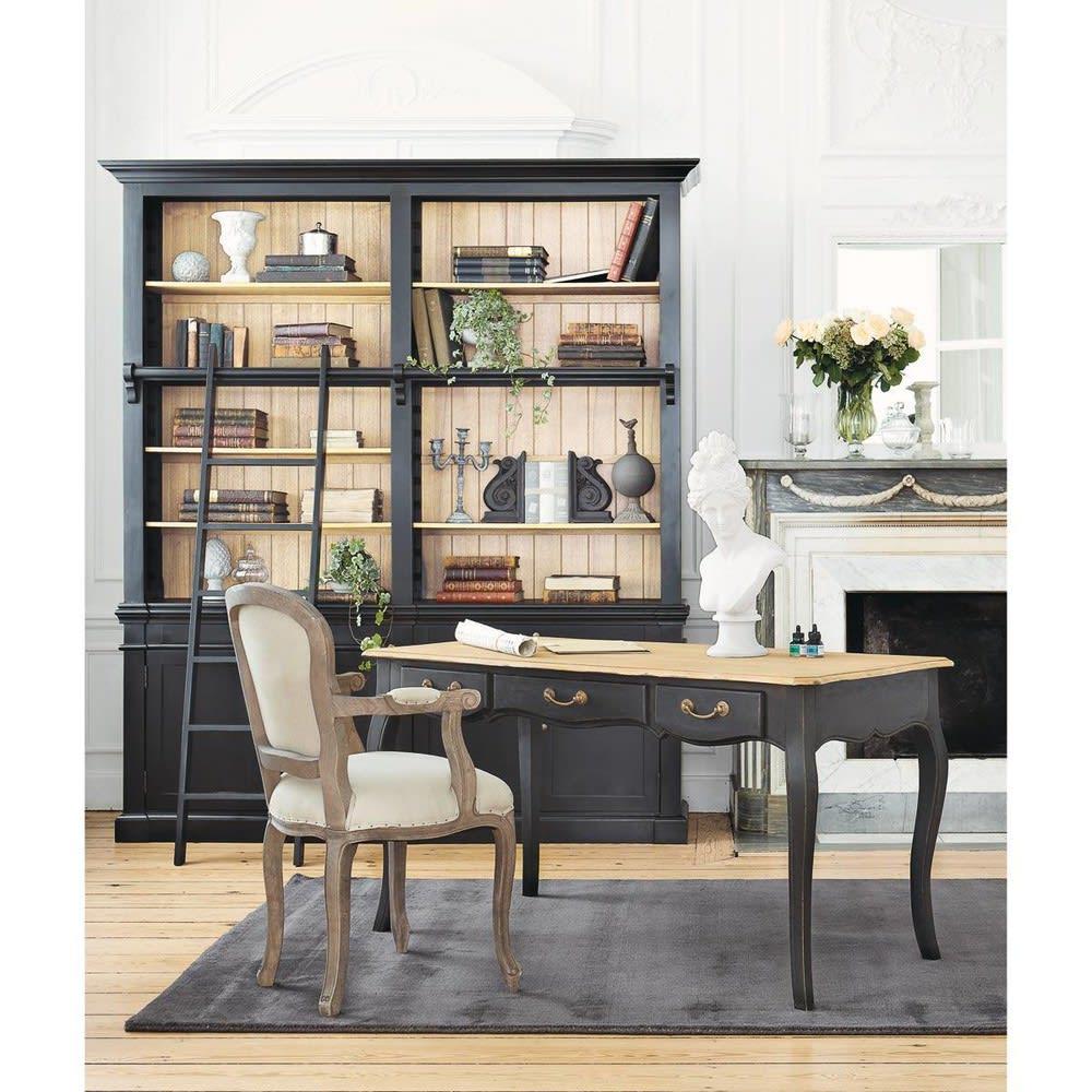 b cherregal aus kieferholz mit leiter schwarz versailles. Black Bedroom Furniture Sets. Home Design Ideas