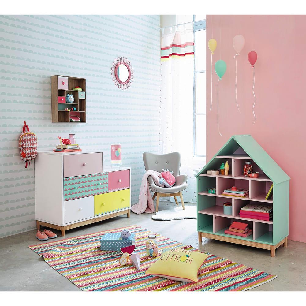 b cherregal haus f r kinder gr n und rosa berlingot maisons du monde. Black Bedroom Furniture Sets. Home Design Ideas