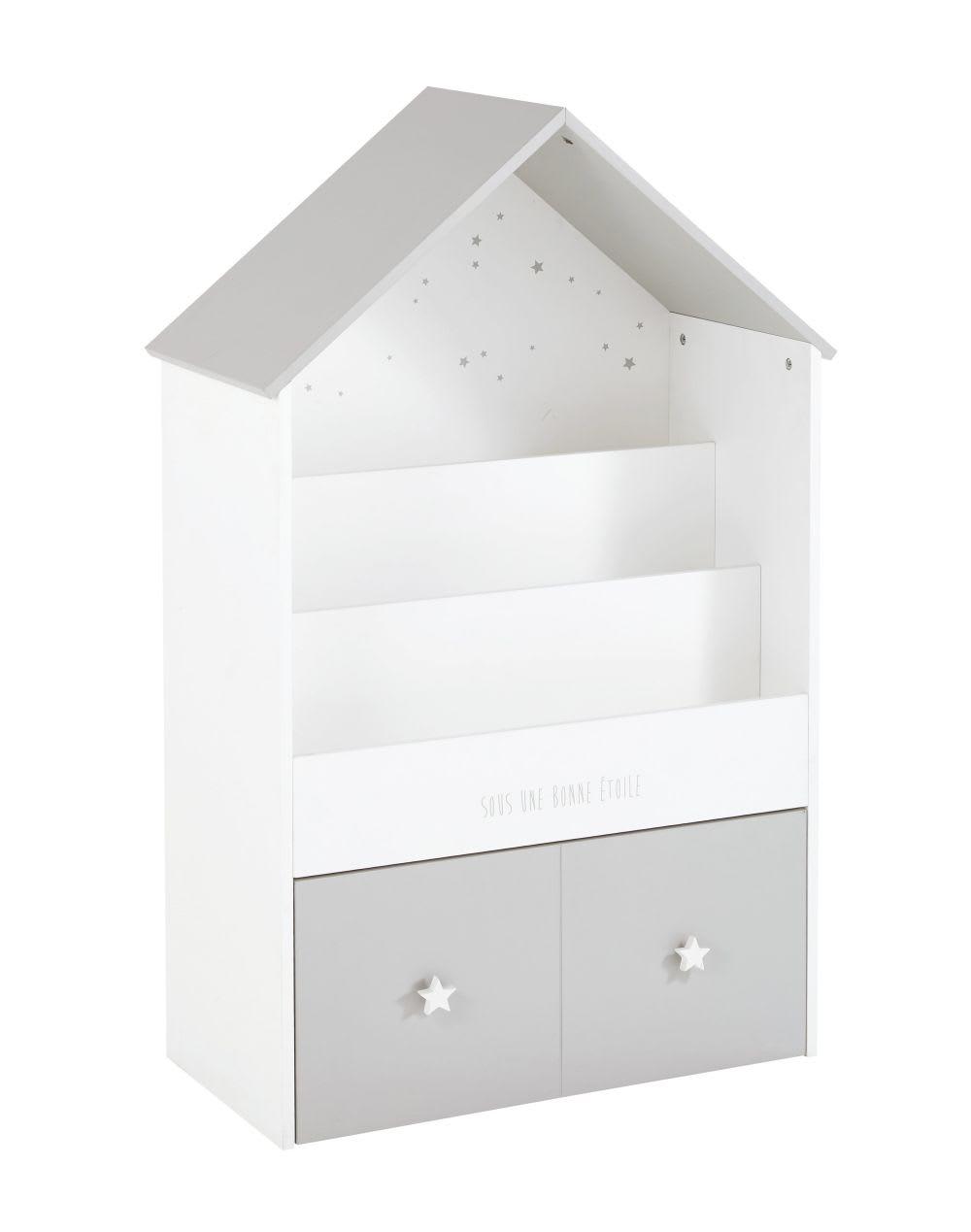 b cherregal in hausform f r kinder mit 1 schublade grau. Black Bedroom Furniture Sets. Home Design Ideas