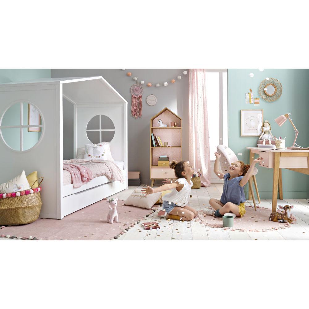 b cherregal in hausform f r kinder rosa und wei. Black Bedroom Furniture Sets. Home Design Ideas
