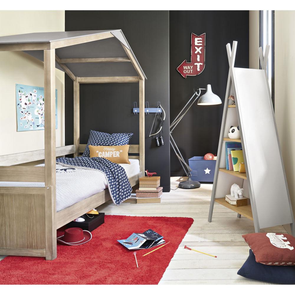 b cherregal in tipiform f r kinder aus buchenholz hellgrau und wei happy camper maisons du monde. Black Bedroom Furniture Sets. Home Design Ideas