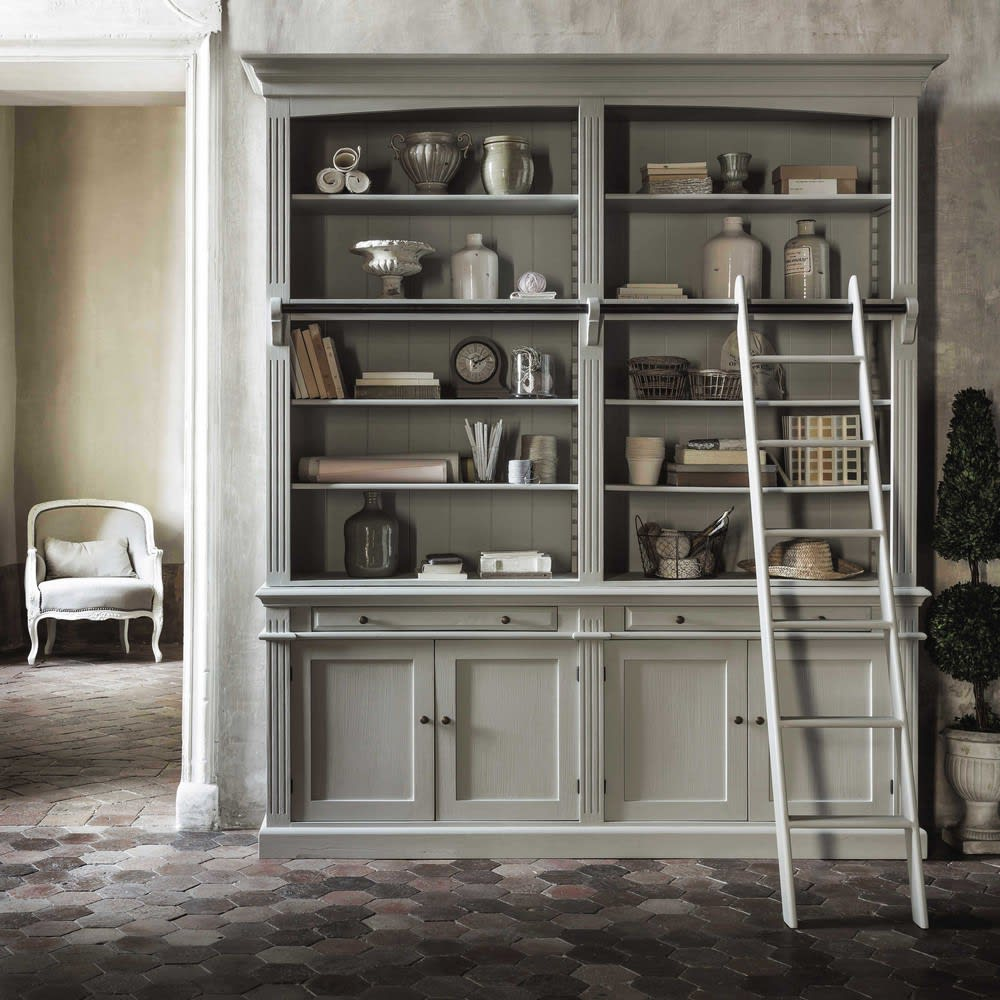 b cherregal mit 2 schubladen 4 t ren und leiter grau. Black Bedroom Furniture Sets. Home Design Ideas