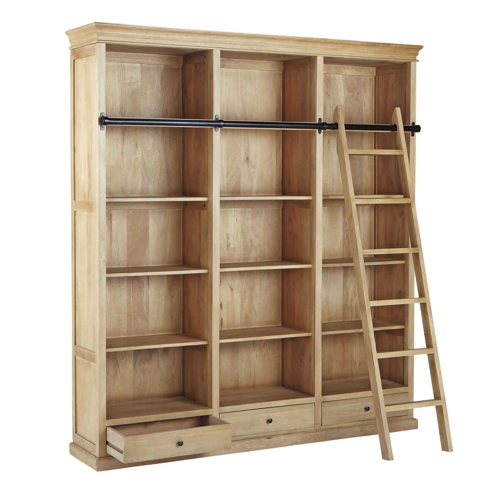 b cherregal mit 3 schubladen und leiter aus mangoholz. Black Bedroom Furniture Sets. Home Design Ideas