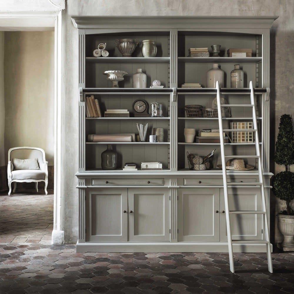 b cherregal mit leiter grau amandine maisons du monde. Black Bedroom Furniture Sets. Home Design Ideas