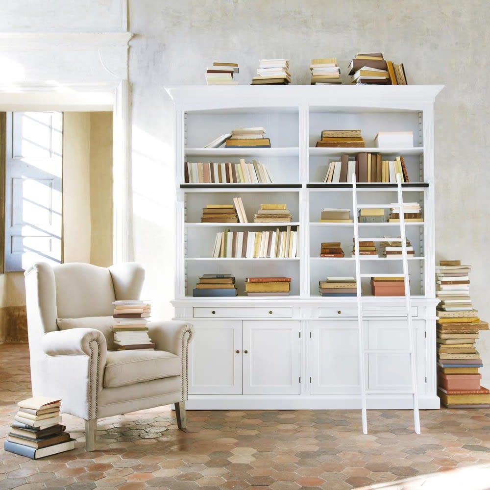 b cherregal mit leiter wei amandine maisons du monde. Black Bedroom Furniture Sets. Home Design Ideas