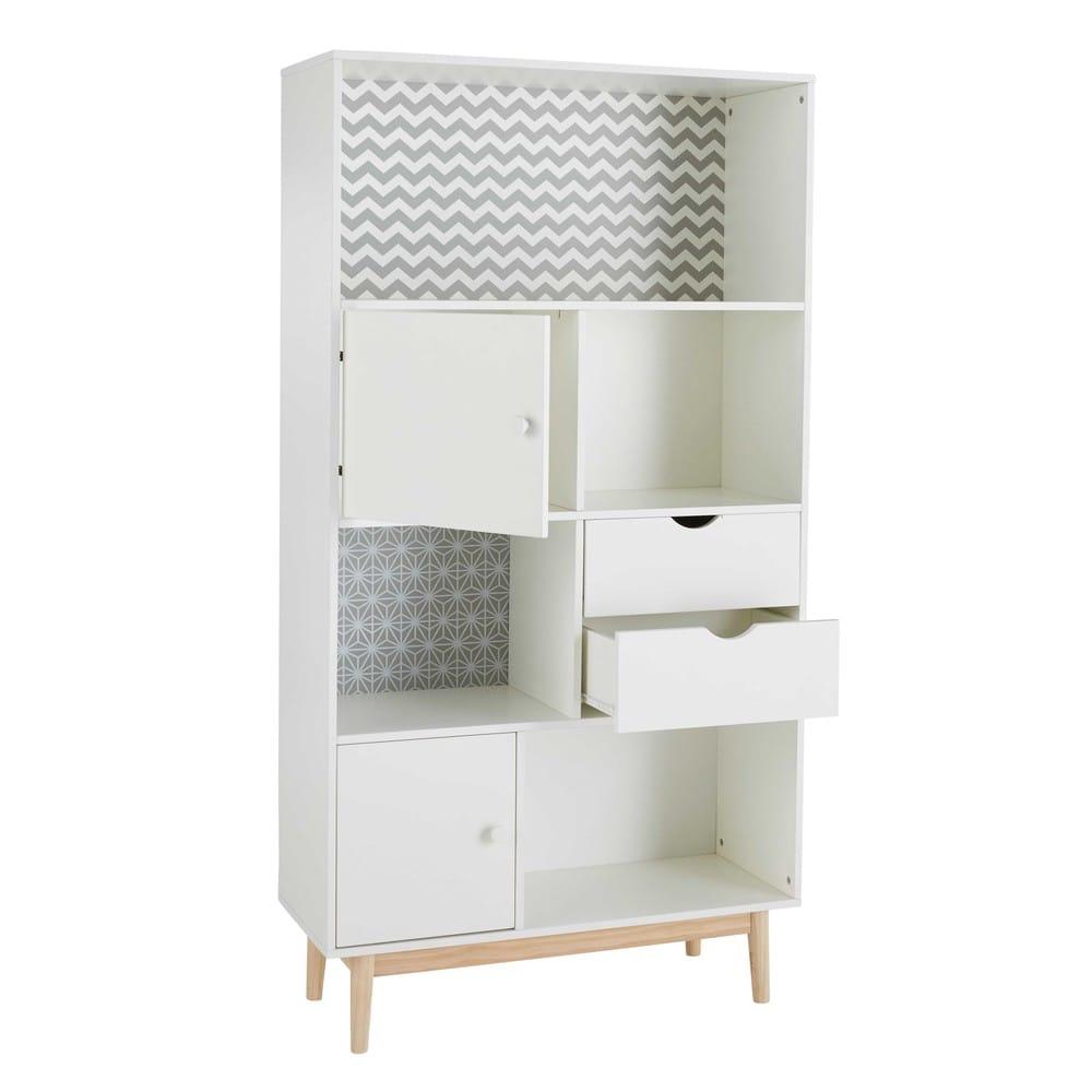 b cherschrank mit 2 t ren und 2 schubladen wei mit motiven joy maisons du monde. Black Bedroom Furniture Sets. Home Design Ideas