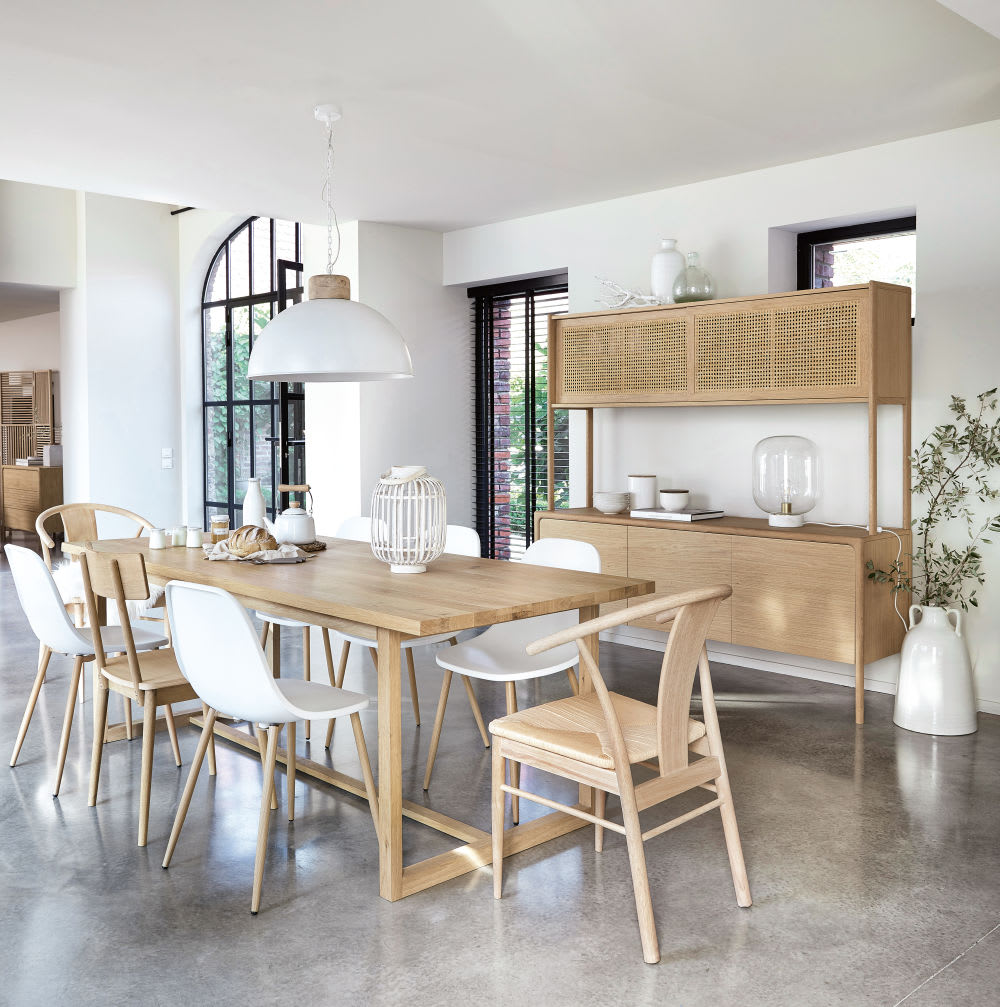 buffet 2 corps en ch ne massif et cannage en rotin canopy. Black Bedroom Furniture Sets. Home Design Ideas