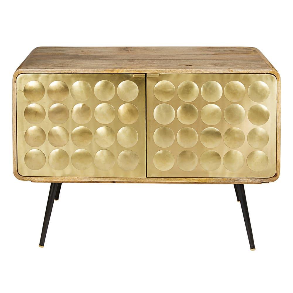 buffet 2 portes en m tal effet dor gatsby maisons du monde. Black Bedroom Furniture Sets. Home Design Ideas