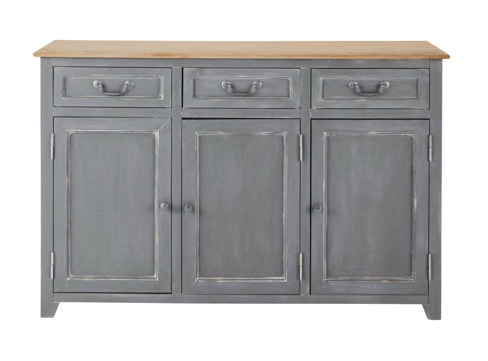 buffet 3 portes 3 tiroirs gris honorine maisons du monde. Black Bedroom Furniture Sets. Home Design Ideas