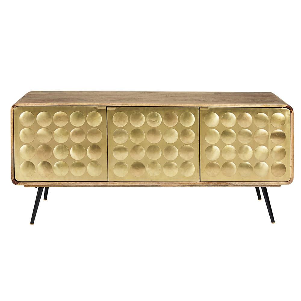 gatsby - buffet 3 portes en manguier massif et métal effet doré