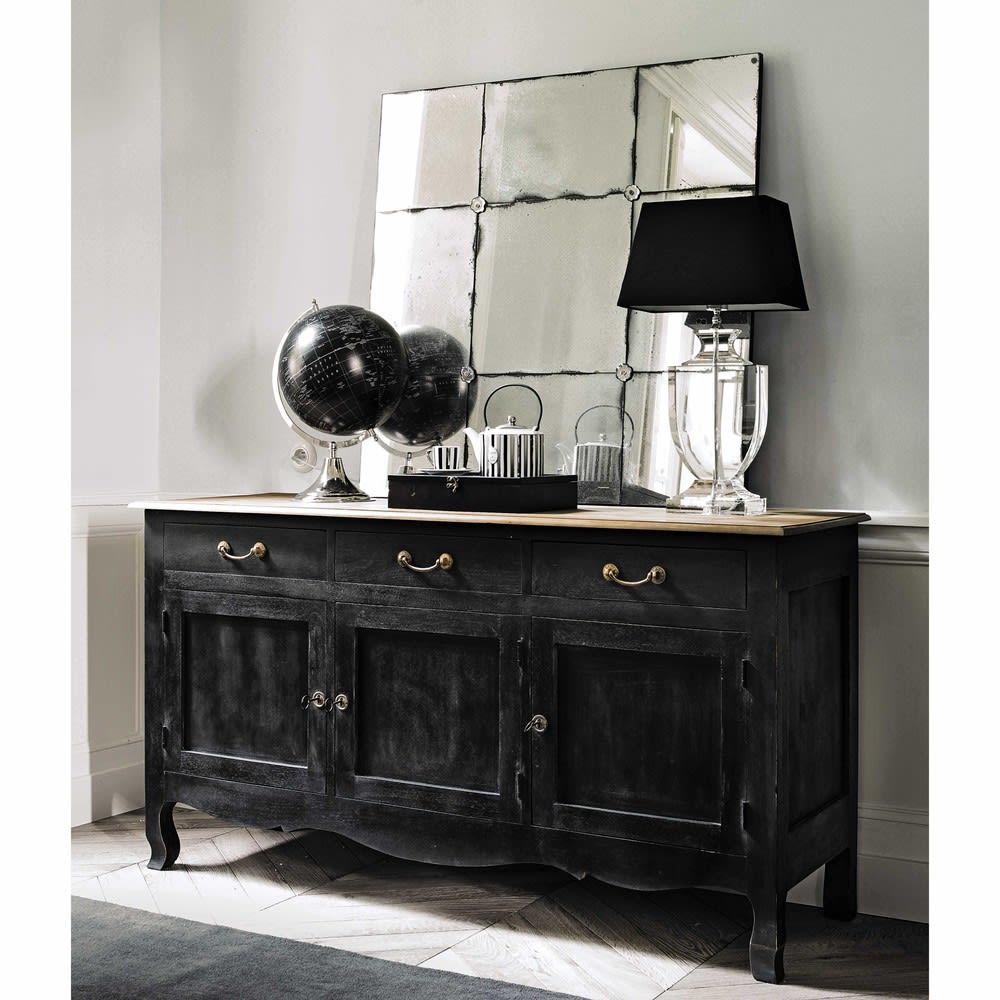 buffet 3 portes en manguier noir versailles maisons du monde. Black Bedroom Furniture Sets. Home Design Ideas