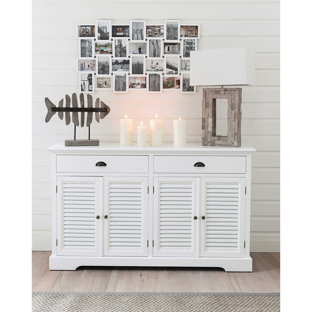 buffet en bois blanc l 150 cm barbade maisons du monde. Black Bedroom Furniture Sets. Home Design Ideas