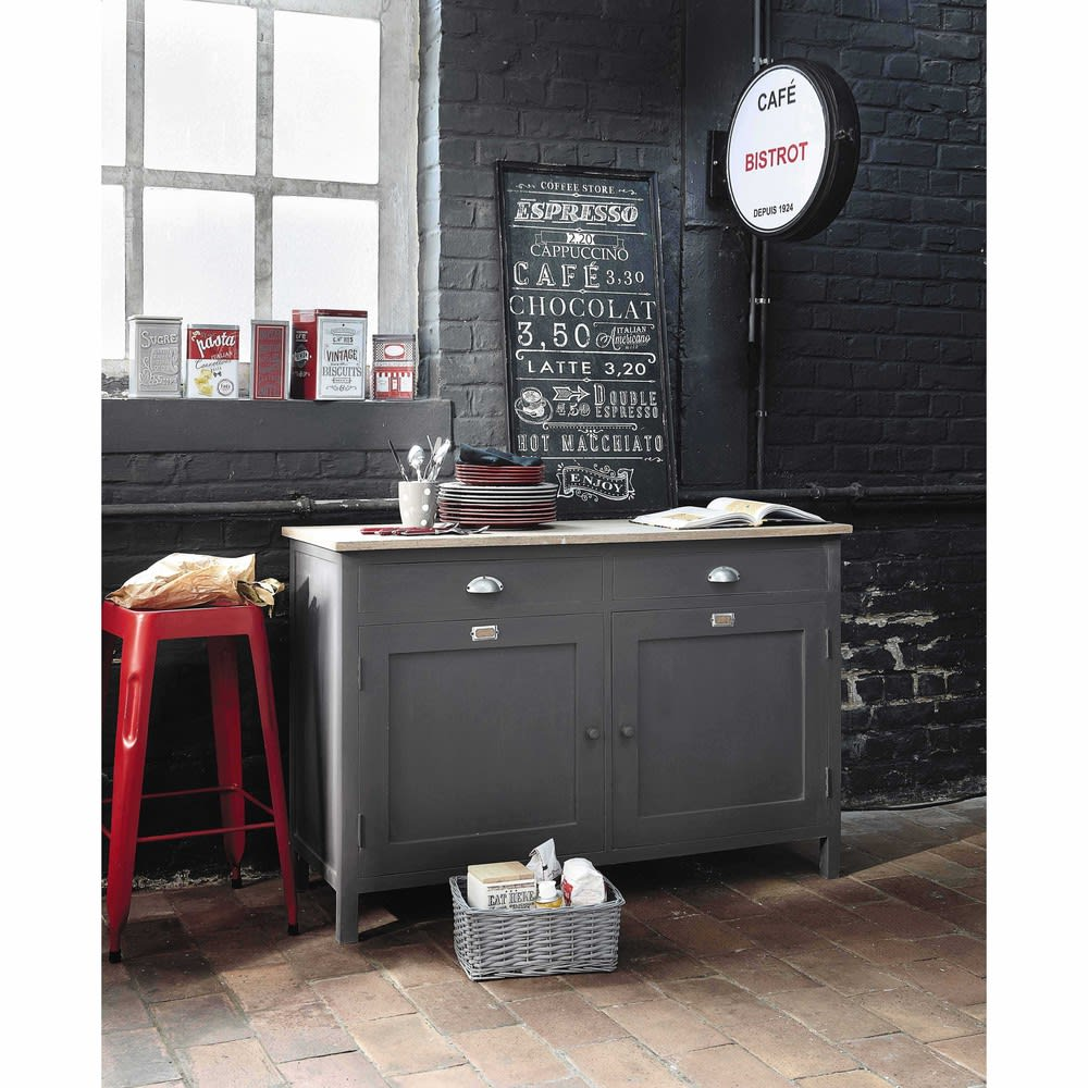 Buffet gris anthracite chablis maisons du monde for Ikea stampe parete