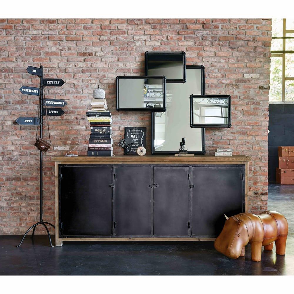 buffet indus 4 portes en pin recycl et m tal gris. Black Bedroom Furniture Sets. Home Design Ideas