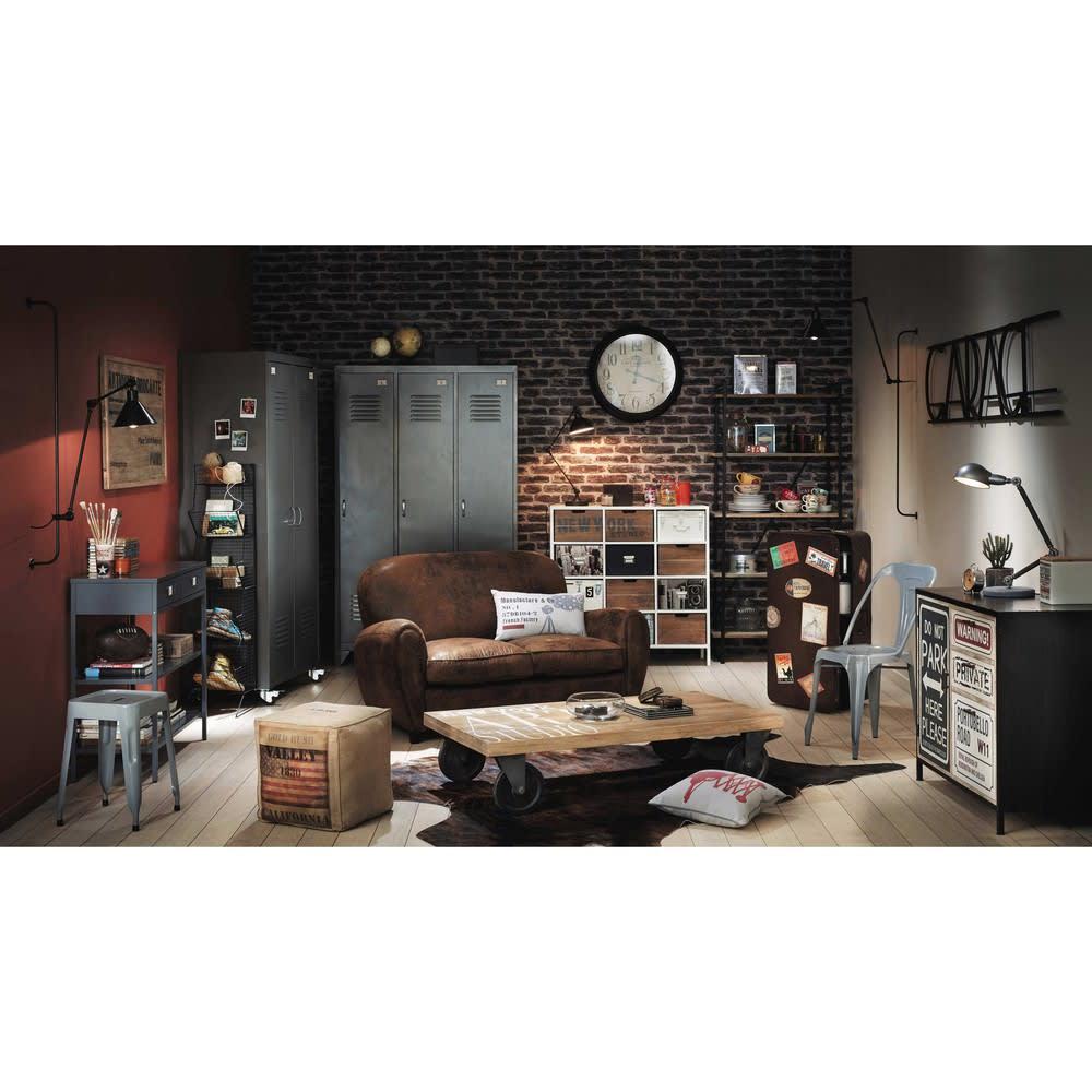 buffet indus imprim en m tal et bois noir l 90 cm park. Black Bedroom Furniture Sets. Home Design Ideas