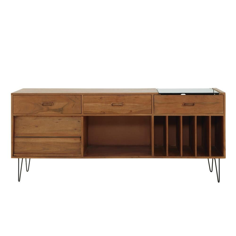 buffet meuble vinyles en acacia massif gimmick maisons. Black Bedroom Furniture Sets. Home Design Ideas